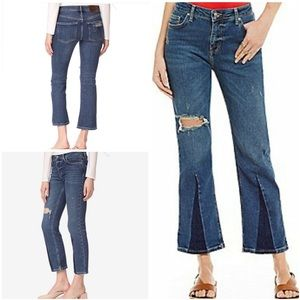 New Free People Color Block Crop Flare Jeans